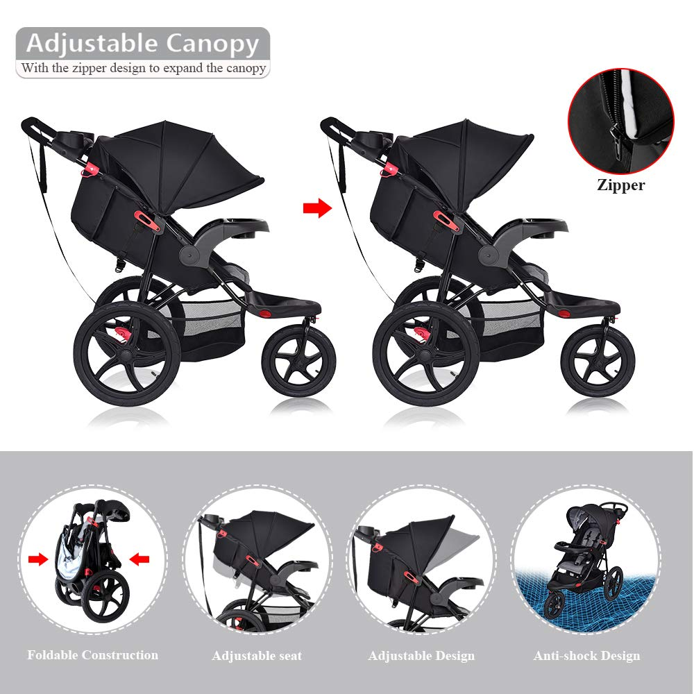 Extended Canopy Large Storage Basket Cchainway Baby Jogger Stroller w//Parental Cup Phone Holder Foldable Lightweight Stroller with Jogger Travel System Black Cup Holder Free Tractive Webbing