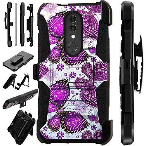 Compatible Alcatel Onyx (2018) Case Armor Hybrid Phone Cover LuxGuard Holster (Purple Butterfly)