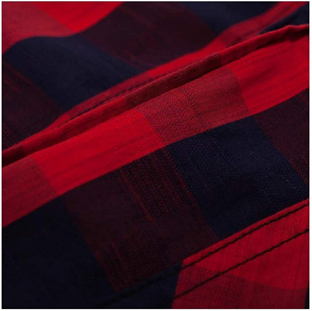 Fseason-Men No-Iron Classic Plaid Pocket Single Breasted Relaxed Shirt