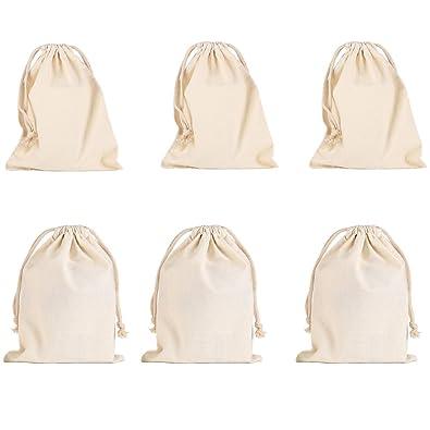 41dfeab53 vientiane Bolsas De Algodón con Cordón Ajustable, 6 Piezas Bolso Pequeño  Bolso De Boda Bolso Bolsa De Regalo Bolso De Cumpleaños (16 * 18cm) (20 *  30cm): ...