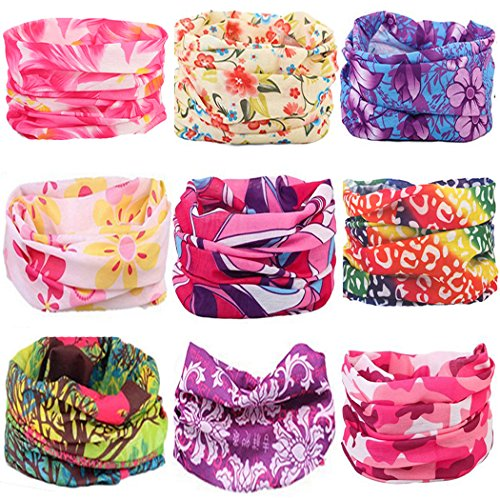 KALILY 9PCS Headband Bandana – Versatile FLOWER Sports & Casual Headwear –Multifunctional Seamless Neck Gaiter, Headwrap, Balaclava, Helmet Liner, Face Mask for Camping, Running, Cycling, Fishing etc