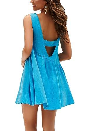 cc4822606b55 Women s Mini Dresses Sexy Backless Deep V Neck Pleated Loose Swing T-Shirt  Dress at Amazon Women s Clothing store