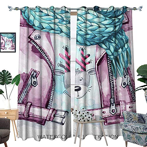 blackout curtains for bedroom Watercolor vintage illustration Warm wear look Hand painted leather jacket knitting scarf and funny deer print in winter fashion concept Style gir W120