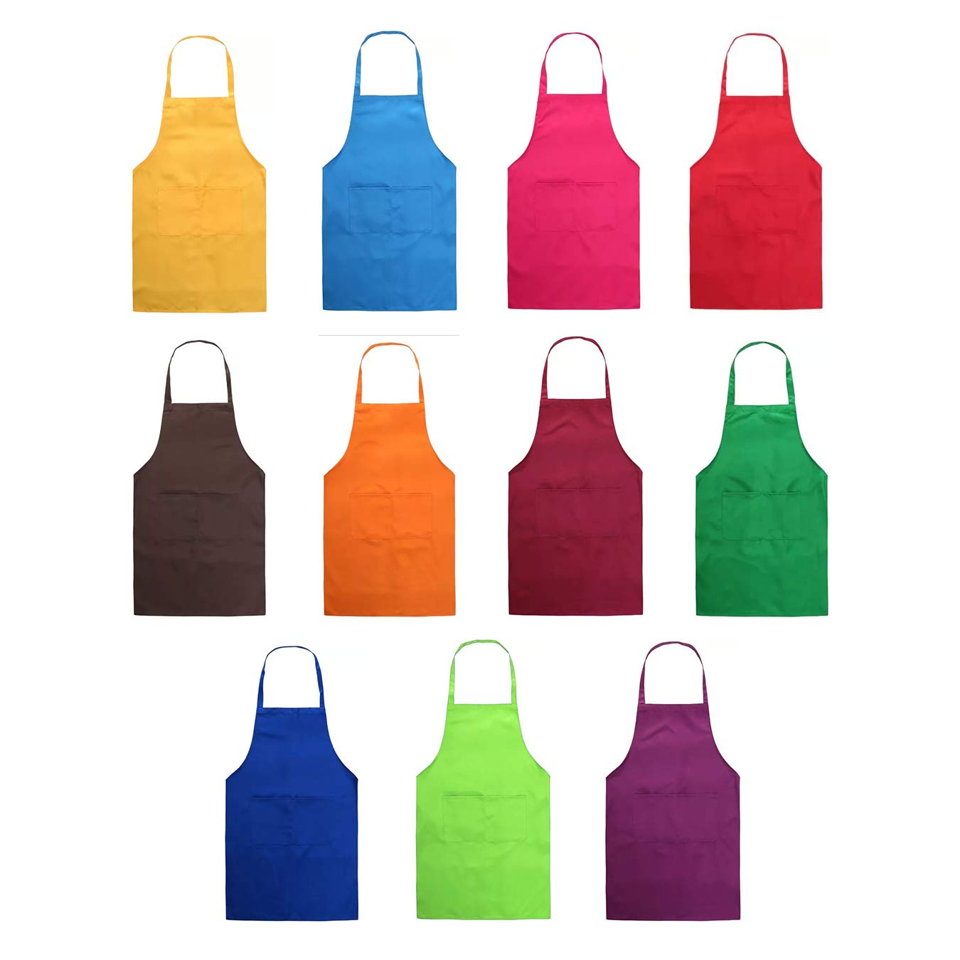 Total 11 Pcs Plain Color Bib Apron Waterdrop Resistant with 2 Pockets Painting Event Party BBQ Cooking Kitchen Aprons for Women Men Adults Chef