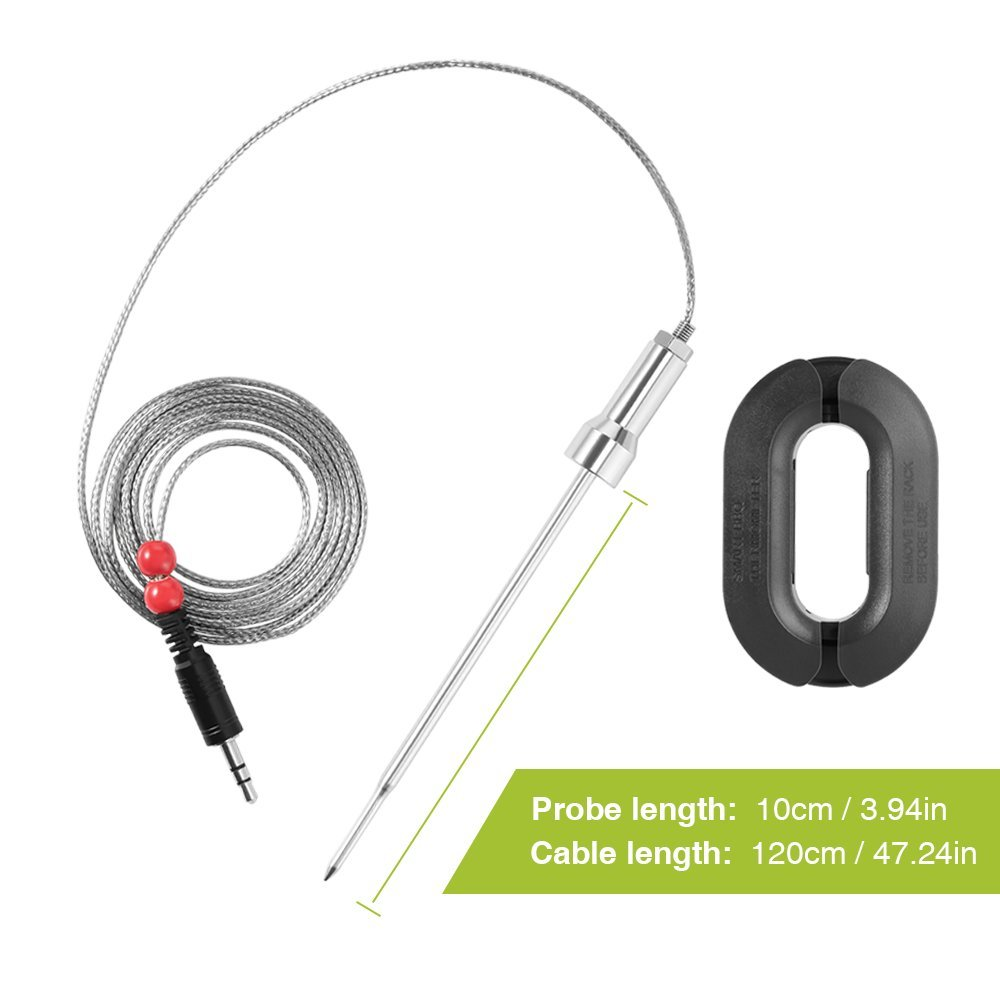 Silver Zanmini Stainless Steel Probes with Long Wire,2 Probes for Wireless Digital Thermometer