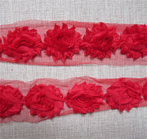 2 Meters Frayed Rose 3D Flower Lace Edge Trim Ribbon 6 cm Width Shabby Chic Colourful Edging Trimmings Fabric Embroidered Applique Sewing Craft DIY Valentine's Day Cards Propose Occasion (Red) ()