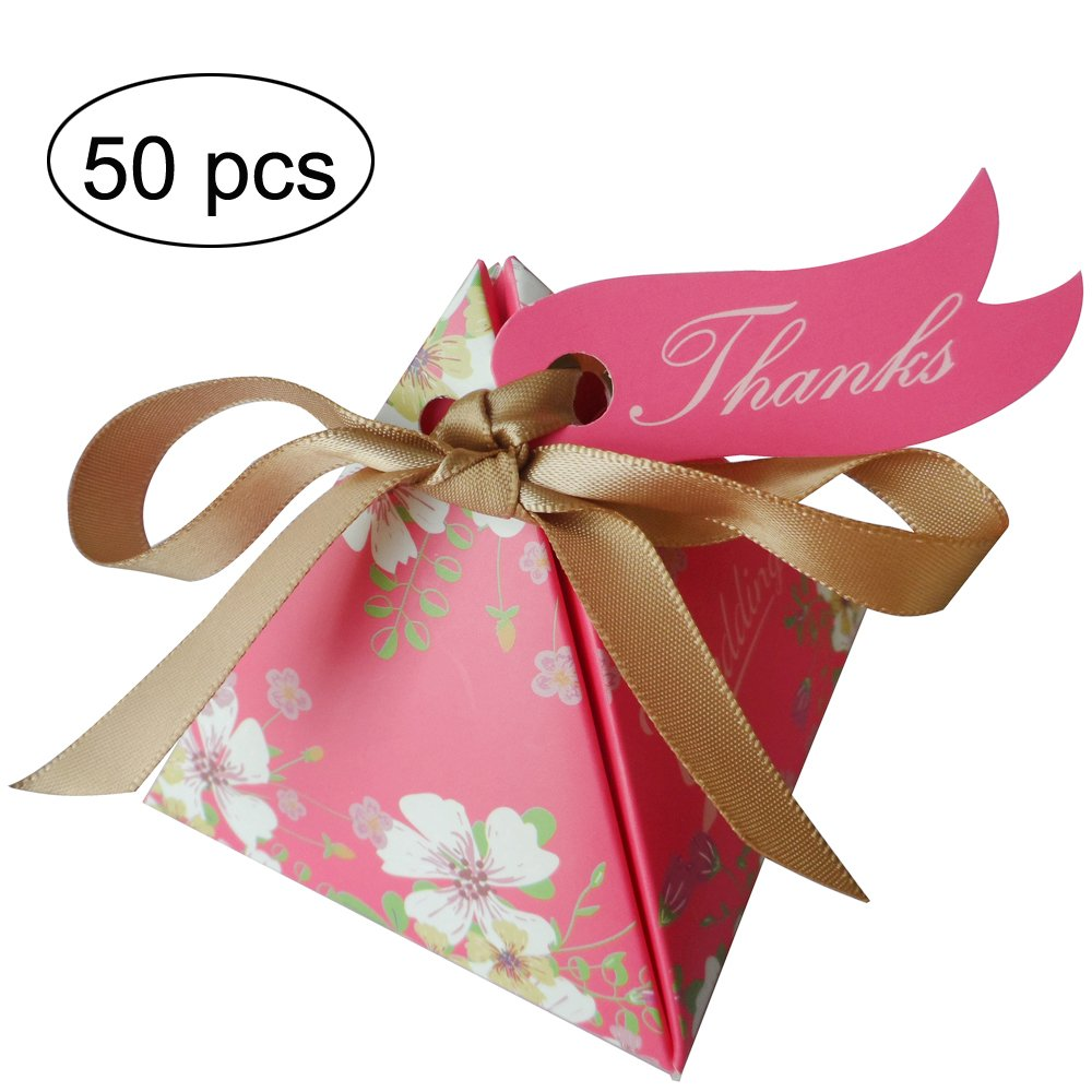 Moleya 50pcs Floral Wedding Candy Gift Boxes with Ribbons for Party Favors and Decoration, Rose by Moleya