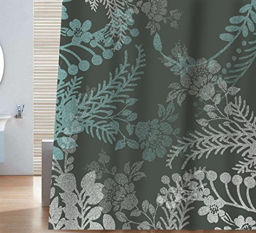 Sunlit Designer Elegant Floral Print Shower Curtain Gray and Blue Natural Flowers Leaves Herbs Grass Tree Plants Bathroom Screened Porch Décor. Odorless Water Repellent - Gray Blue Dark