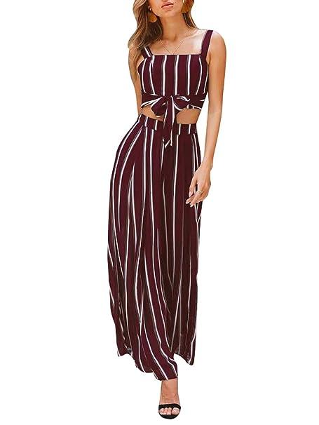 9c8aa38d8f34 Glamaker Women s Chiffon 2 Pieces Striped Jumpsuit Outfits Sleeveless Strap Crop  Top Wide Leg Pants Set