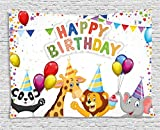 Ambesonne Birthday Decorations for Kids Tapestry, Cartoon Safari Animals at a Party with Flags Balloons Image, Wall Hanging for Bedroom Living Room Dorm, 80 W X 60 L inches, Multicolor