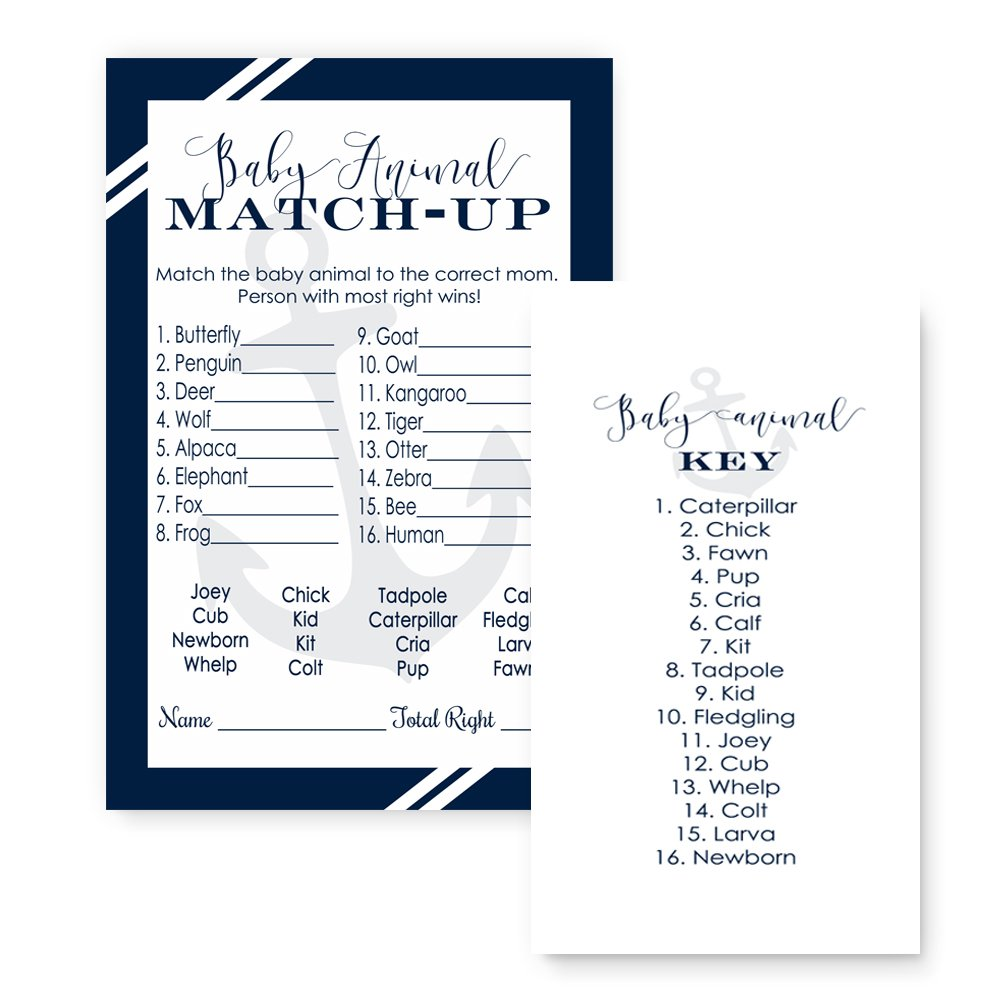 Nautical Baby Shower Game Animal Match (25 Pack)