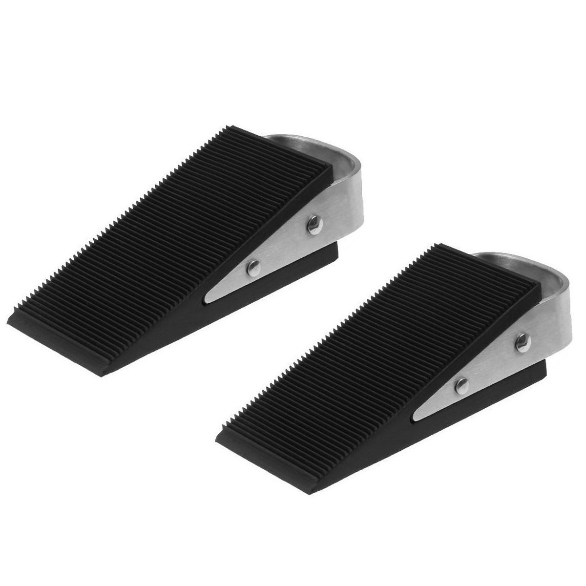 Large Rubber Door Stopper - 2 Pcs Large Heavy Duty Door Stopper Wedge Office Made of Rubber and Stainless Steel - Works on All Surfaces (2 Pack)