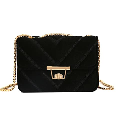 d522ad83fc AIRSIONLU Women V Shape Diamond Lattice Messenger Bag Velour Handbag Handbag  Suede Chain Quilted Shoulder Bags
