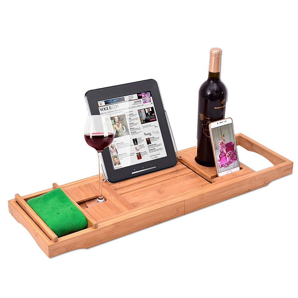 Luxury Wood Bamboo Bathtub Tray Bath Tub Caddy Tray Extending Sides Built in Wineglass Aromatherapy Candles Phone Holder Reading Rack Cellphone Tray Fit Most Tub MJ0001 TUYUU