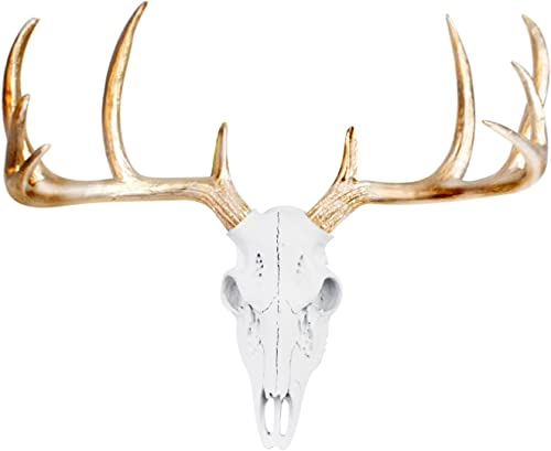 WALL CHARMERS Mini White Gold Antler Faux Deer Skull