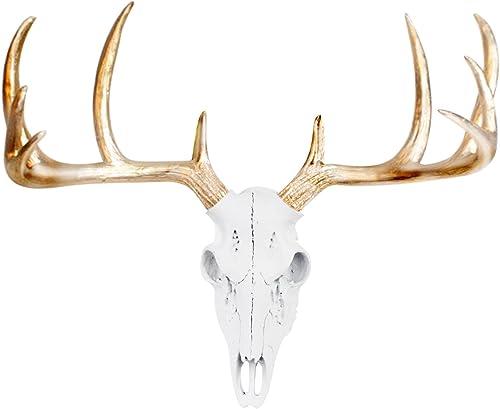 Wall Charmers Mini White Gold Antler Faux Deer Skull – 16 inch Faux Taxidermy Animal Head Wall Decor – Handmade Farmhouse Decor