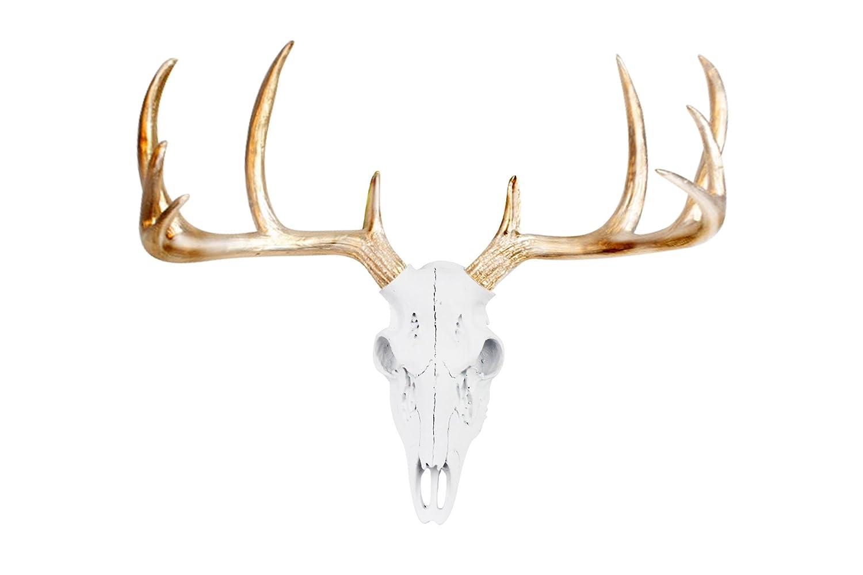 Wall Charmers Mini White + Gold Antler Faux Deer Skull - 16 inch Faux Taxidermy Animal Head Wall Decor - Handmade Farmhouse Decor