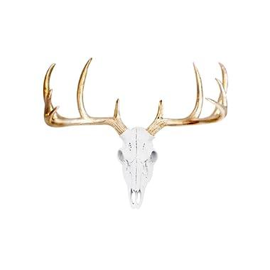 Wall Charmers Mini White + Gold Antler Faux Deer Skull - 16  Faux Taxidermy Animal Head Wall Decor - Handmade Farmhouse Decor