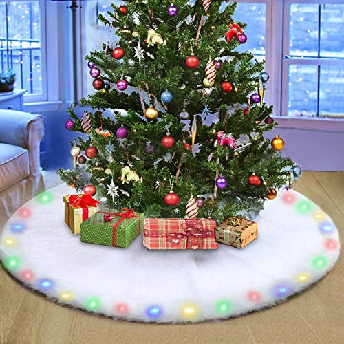 BIGOU Christmas Tree Skirt with LED Light, 48 Inch 2 Modes Snow White Luxury Faux Fur Tree Skirts Base Cover Floor Mat Christmas Lighting Decorations for Xmas Party Holiday Home Garden
