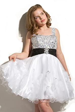 Ebelz Little GirlsSequin Crystals Party Prom Dresses: Amazon.co.uk: Clothing