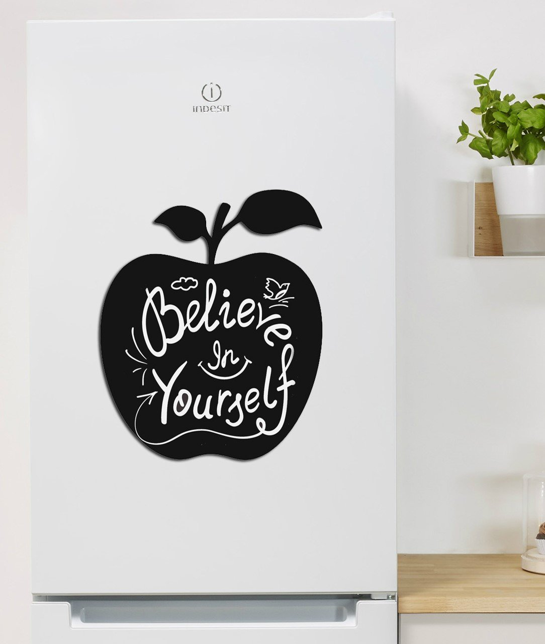 MELPOSMEL Adhesive Decal with Chalkboard-Surface 12 x 14.5 Black Apple Design for Chalk Writings Just Peel and Stick.