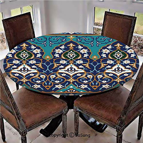 Elastic Edged Polyester Fitted Table Cover,Ottoman Folkloric Art Inspired Abstract Aged Middle Age Renaissance Artful Print,Fits up 45