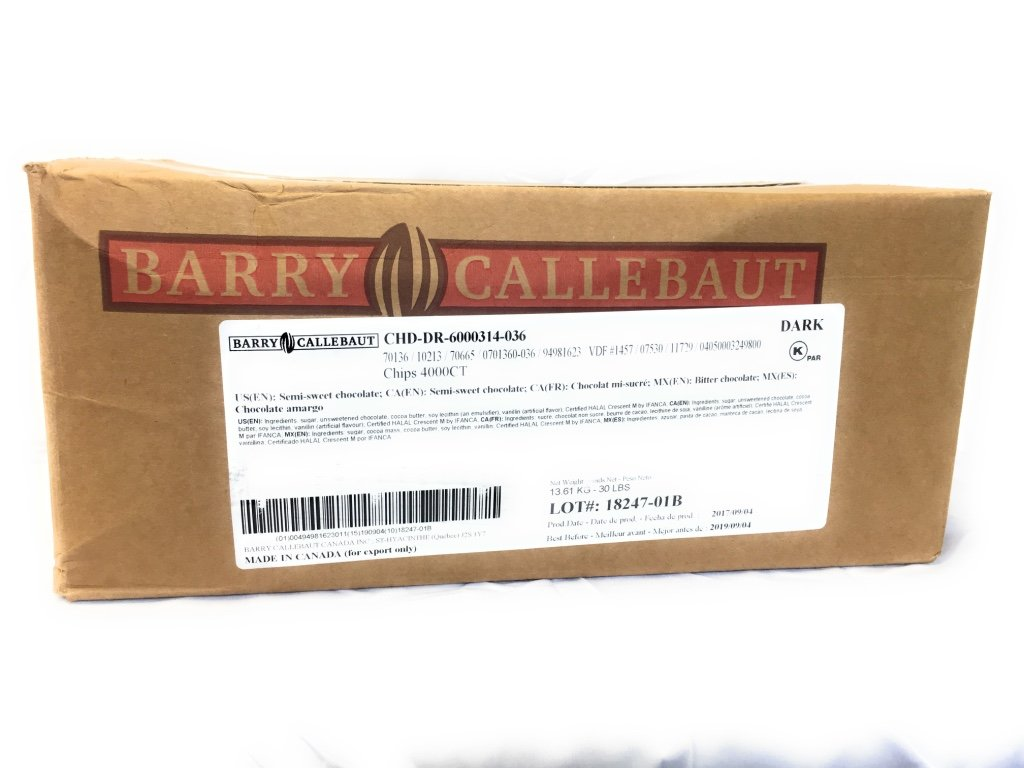 Callebaut 1,000 count/ Lb Semi-Sweet Chocolate Chips (Soft Bake) 45% Total Cocoa 26% Total Fat natural flavor Non GM 30 Lb