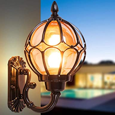 Vintage Wall Light Fixture, Outdoor Glass Wall Sconce Lantern, Waterproof Wall Lamp for Garden, Hallway, Court-Yard, Porch 23 cm (Black)