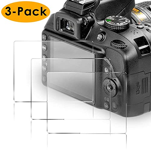 KIMILAR 3-Packs Tempered Glass Screen Protector For Nikon D3400 D3300 D3200 D3100 D3000, 9H Hardness Anti-Scratch Screen Protector for Nikon DSLR Camera