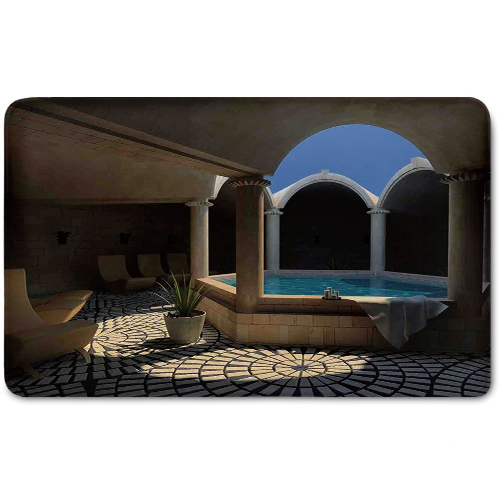 Memory Foam Bath Mat,Landscape,Inside View of A Spa Hotel with Bathtub in the Circle Centre Therapy Photo Print DecorativePlush Wanderlust Bathroom Decor Mat Rug Carpet with Anti-Slip Backing,Grey Bl