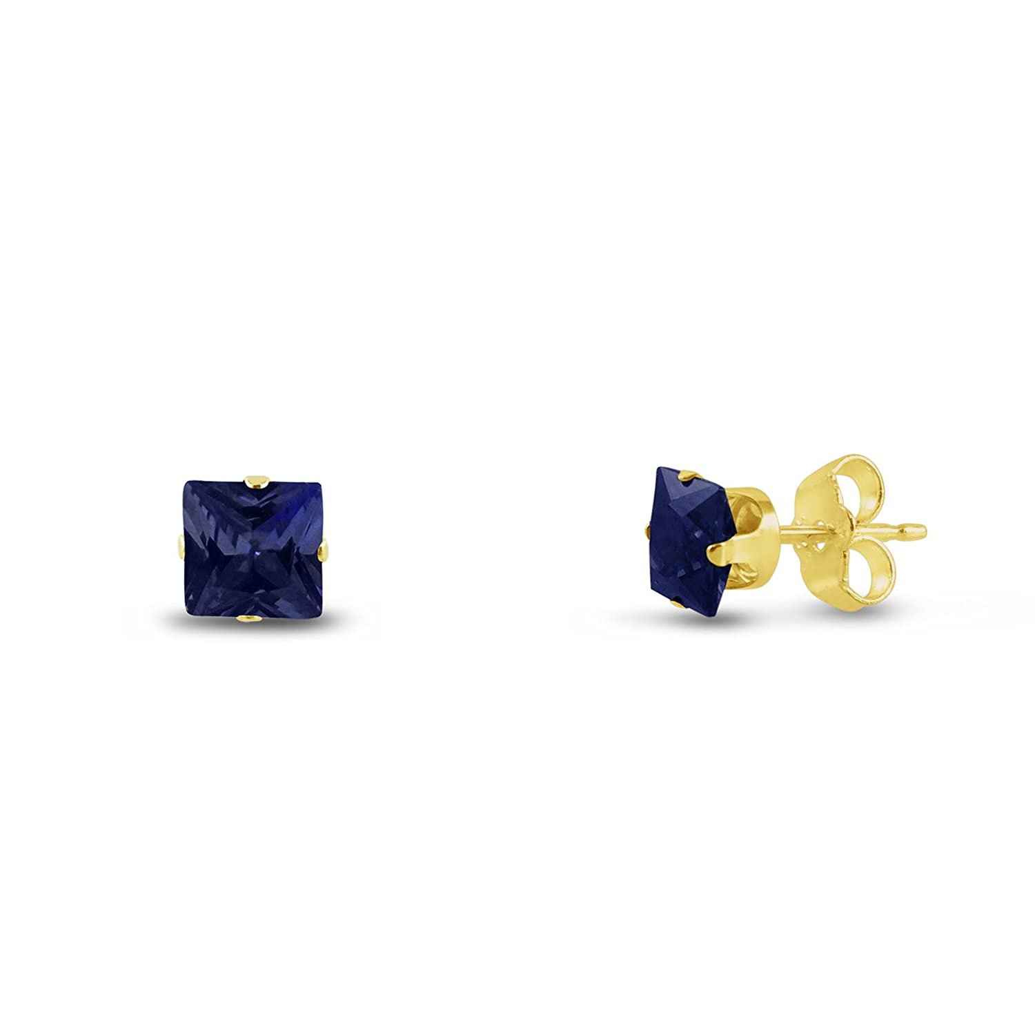 Square 2x2mm Extra Small Lab Created Blue Sapphire Gold Plated Sterling Silver Stud Earrings