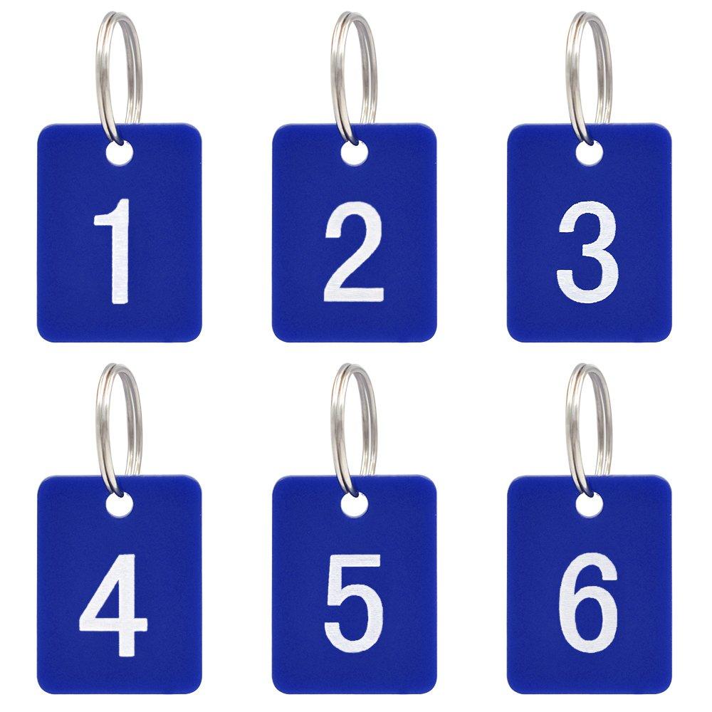 para organizar y clasificar acr/ílico etiquetas de identificaci/ón color Black Oval 1to50 Aspire Etiquetas numeradas con llavero 50/unidades