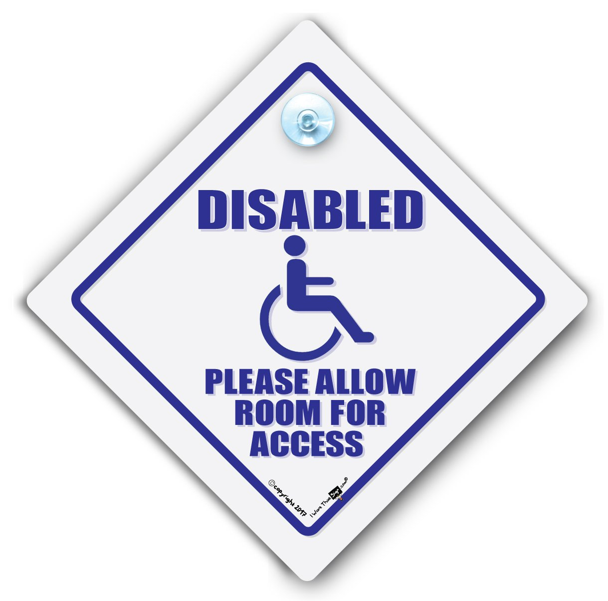 Disability Car Sign, Disabled Driver Sign, Wheel Chair User, Disabled Access, Wheelchair User Car Window Sign, Disabled Suction Cup Car Sign, White Background Blue Text for Lightly Tinted Windows