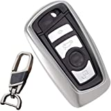 Soft TPU smart case cover for BMW key chain fit1 3 5 7 Series X3 X4 Car Styling holder bag (Silver)