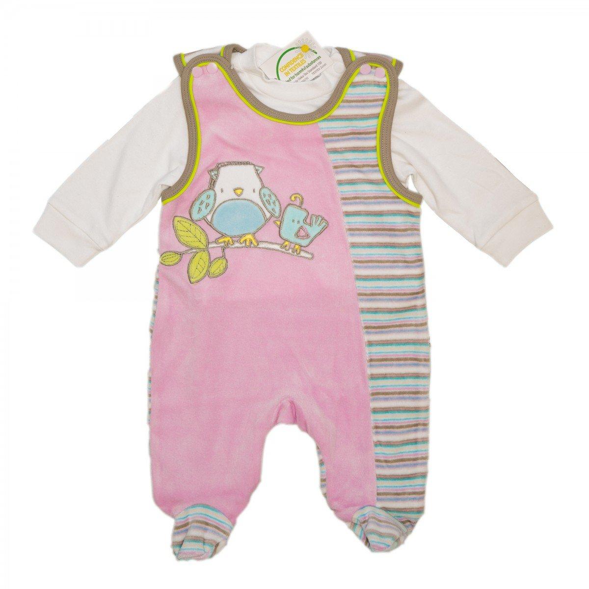 M/ädchen Beige Jungen Baby Nicki Strampler 2 teilig mit Shirt Blau Unisex Pink Langarmshirt