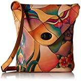 Anuschka Handpainted Leather 8059-BGP V Shape Flap Bag, Butterfly Glass Painting, One Size