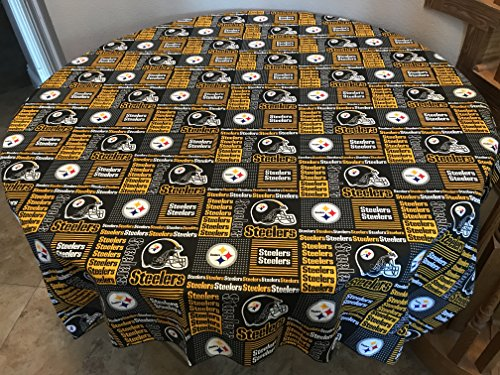 Zen Bar Table - Zen Creative Designs 100% Cotton Tablecloth NFL Sports Team Pittsburgh Steelers Patchwork Black Print/Sports Parties, Events, Tailgating, BBQ (48