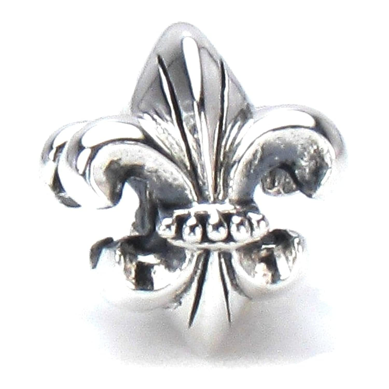 BELLA FASCINI Fleur de Lis European Bead Charm Sterling Silver Fits Compatible Bracelets and Bangles