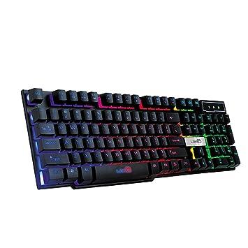 YIY 7 Colores RGB Teclado de Juego Profesional, Mamum Colorido Crack LED Iluminado retroiluminado USB con Cable PC Rainbow Teclado para Juegos, ...