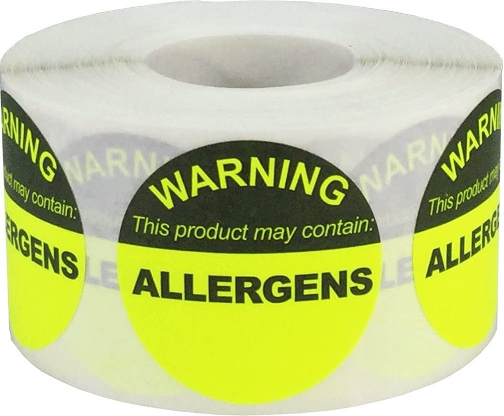 Allergen Warning Food Stickers Fluorescent Yellow 1.5 Inch Round Circle Dots 500 Total Adhesive Stickers