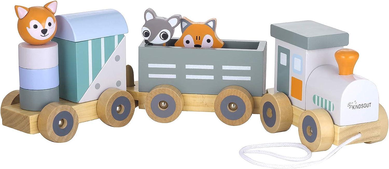Kindsgut Tren de madera con animalitos, rayas
