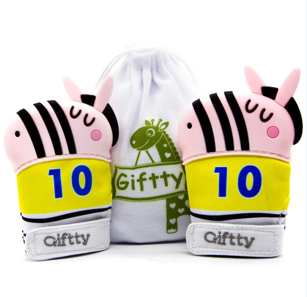Baby Teething Mitten Teether Mitten Soothing Glove Zebra Collection (2 Pack, Pink) by Giftty