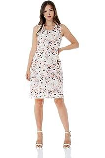 70b3219b5d Roman Originals Women Floral Linen Mix Shift Dress - Ladies Round Neckline  Sleeveless Knee Length…