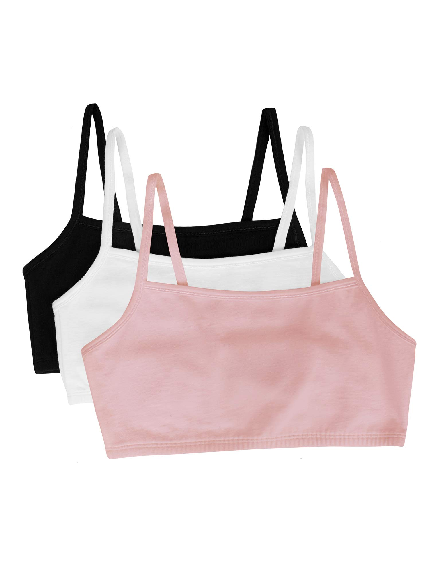 Fruit of the Loom womens Cotton Pullover Sport Bra, blushing rose/white/black 32 by Fruit of the Loom