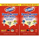 Clorox Triple Action Dust Wipes, Bleach Free Cleaning Wipes - 54 Count Each (Pack of 2)