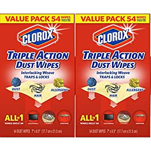 Clorox Triple Action Dust Wipes - 2 Pack - 54 Each