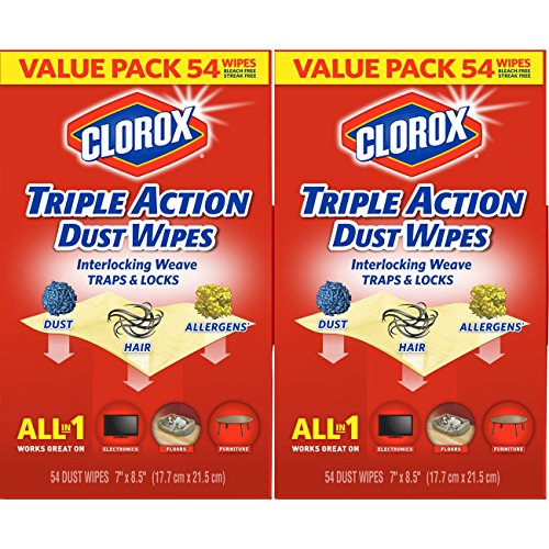 Clorox Triple Action Dust Wipes, Bleach Free Cleaning Wipes - 54 Count Each (Pack of 2) ()
