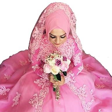 Diandiai Long Sleeve Lace Appliques Muslim Wedding Dresses Bridal ...
