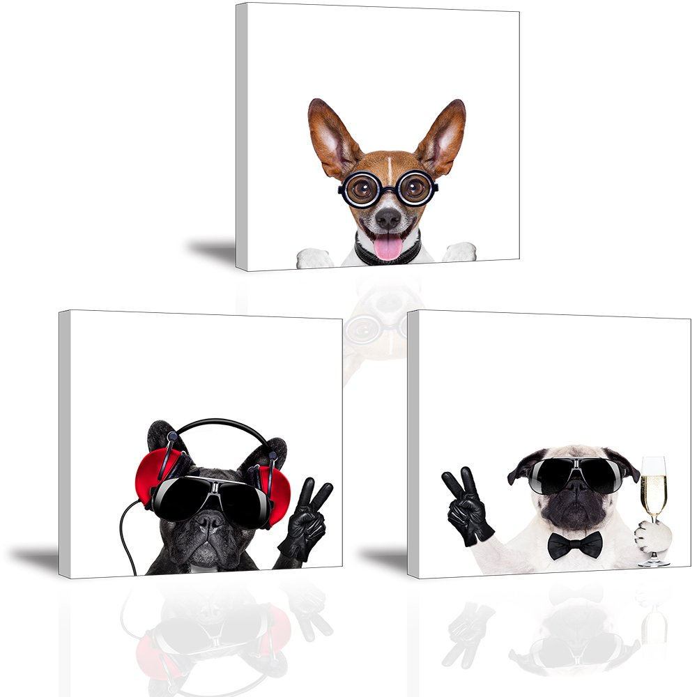 Adorable Dog Art Pictures Wall Decor for Kids/Nursery Room, Modern Funny Pets Canvas Painting Prints of Cool Puppy Dogs and Cute Pup Theme Portrait (Waterproof Artwork, Ready to Hang, 1'' Thick)