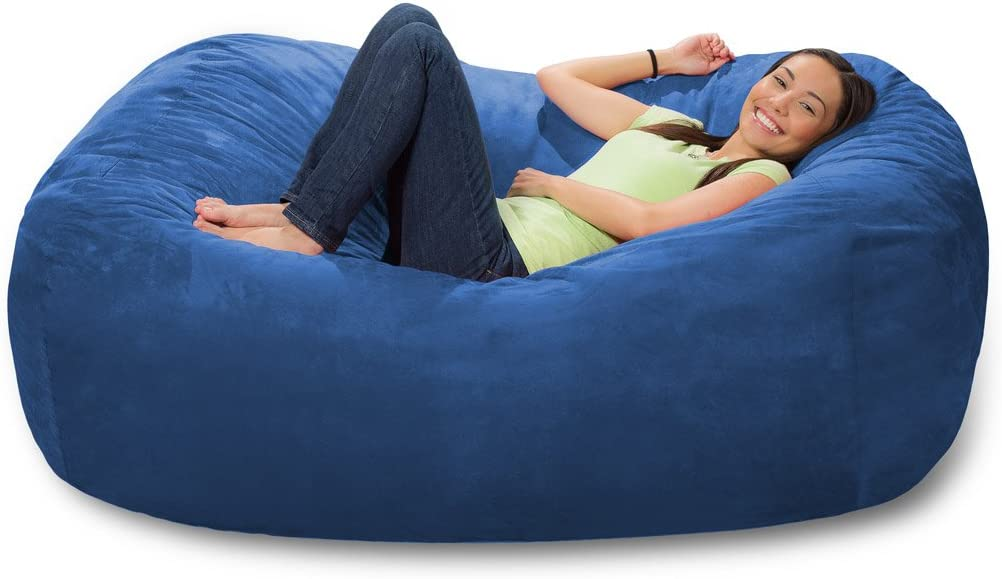 Aqua Blue Ink Craft 6 Foot Bean Bag Chair Cover Only Large Washable Furniture Bean Bag Replacement Cover Without Bean Filling